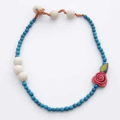 Orange Peel Necklace in Red & Blue