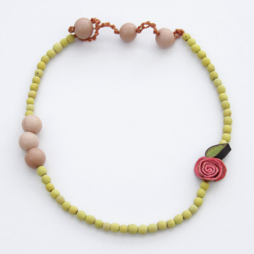 Orange Peel 2 in 1 Necklace & Bracelet in Fuchsia & Lemon