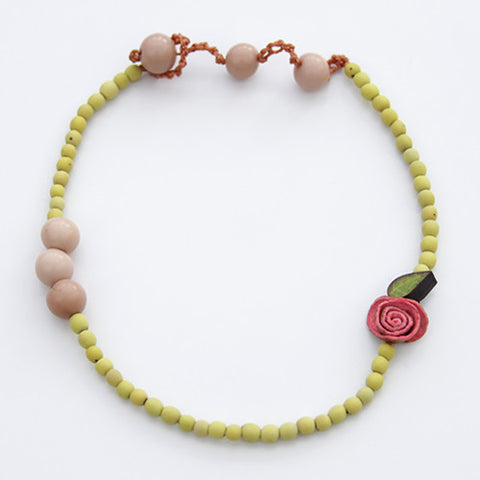 Orange Peel Necklace in Fuchsia & Lemon