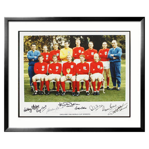 1966 England Team Hand Signed World Cup Winners Print with replica medal + COA