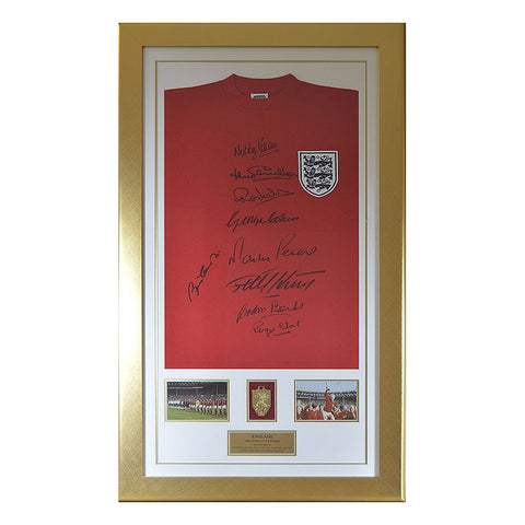 England 1966 World Cup Shirt Signed by 9 - Charlton, Hurst With Medal