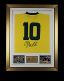 Hand Signed Pele Brazil Framed Shirt 2 Jersey - Football Legend - Proof & COA