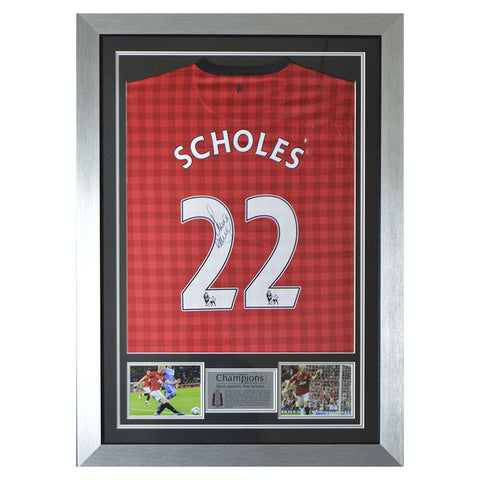 Signed Paul Scholes Man Utd Framed Shirt - Manchester United + COA & Proof