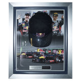 Signed Sebastian Vettel & Mark Webber Red Bull Racing F1 Cap Display