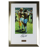Hand Signed Pele Brazil Framed Print Photo - Football Legend & Bobby Moore- COA