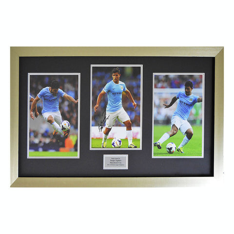 Signed Sergio Kun Aguero Man City Framed Photo Football Montage