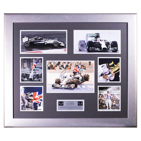 Lewis Hamilton Signed Mercedes F1 Photo Montage F1 World Champion 2014 Display