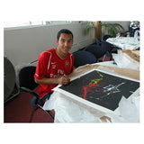 Hand Signed Theo Walcott Arsenal FC Black Impact Art - COA & Proof