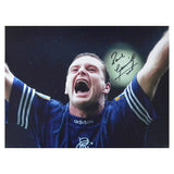 Signed Gazza Paul Gascoigne Glasgow Rangers Football Large Photo Print - COA