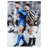 Signed Gazza Paul Gascoigne Newcastle Utd Football Large Photo - Vinnie Jones