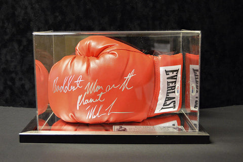 Signed Mike Tyson Red Boxing Glove in Acrylic Case - Baddest Man on the Planet