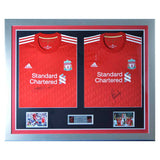 Signed Steven Gerrard & Carragher Liverpool FC Framed Double shirt Display