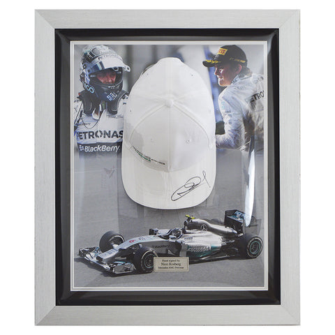 Signed Nico Rosberg Mercedes F1 white Cap Display - COA - Formula 1