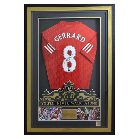 Signed Steven Gerrard Liverpool FC Anfield Shirt Display - Limited Edition