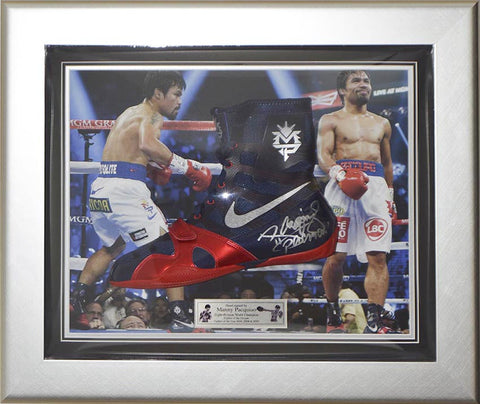 Signed Manny Pacquiao Nike Hyperko MP Framed Boxing Boot - Pacman