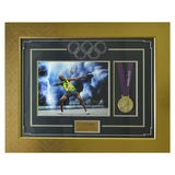 Usain Bolt Signed Photo Display with Replica Olympic Gold Medal - London 2012