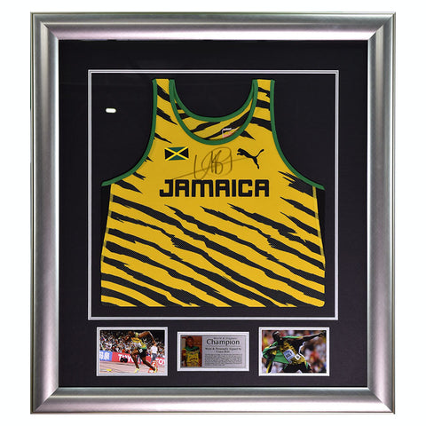 Signed Usain Bolt Framed Vest Jersey - Worn by Bolt - Jamaica