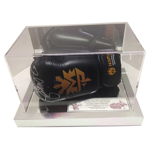 Signed Manny Pacquiao Black MP Boxing Glove in Case