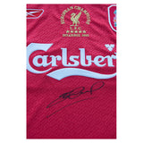 Signed Steven Gerrard Champions league shirt in box display