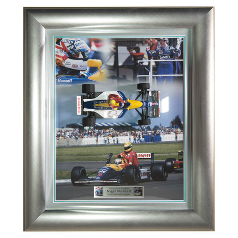 Signed Nigel Mansell Williams F1 Framed Minichamps 1:18 Car Display - Senna
