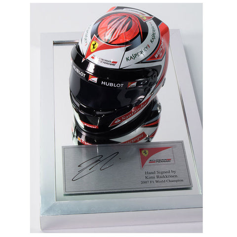 Signed Kimi Raikkonen Plaque 1/2 Scale F1 Helmet Display