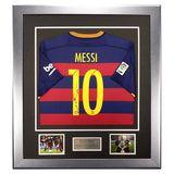 Signed Lionel Messi Barcelona 2015-16 Shirt - Framed Display