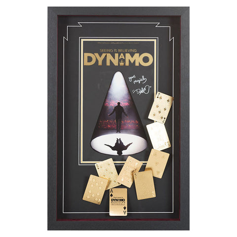 Signed Dynamo Magician Gold Playing Card Framed Display