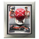 Signed Sebastian Vettel Ferrari F1 Cap Framed Display