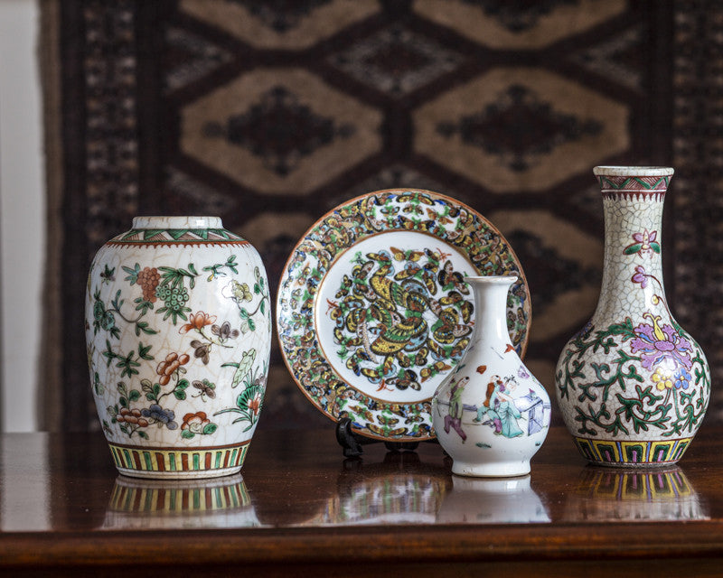Chinese vases, Ginger Jar & Plate