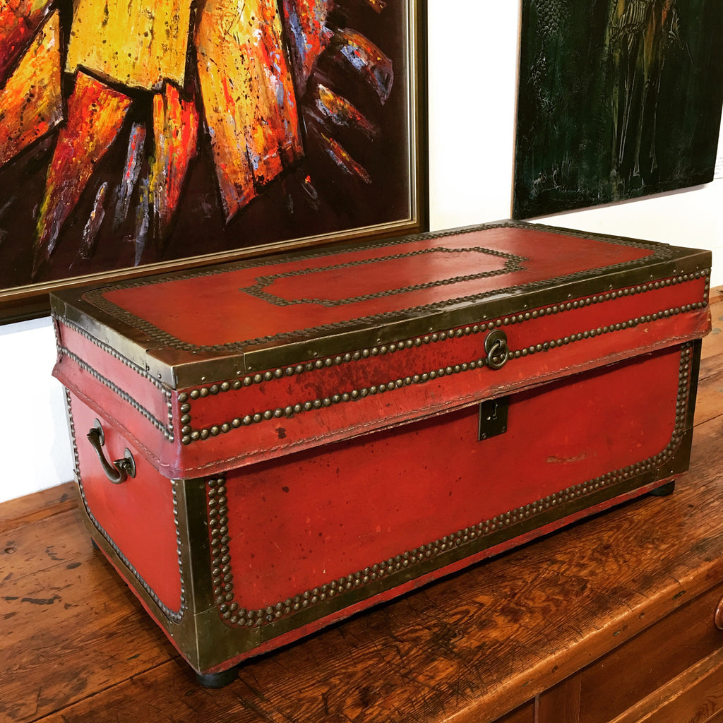 Chinese Export Leather Trunk
