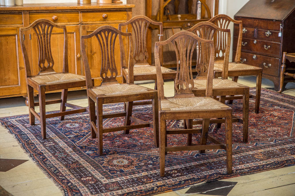 SOLD - Set Of Six Georgian Fruitwood Chairs