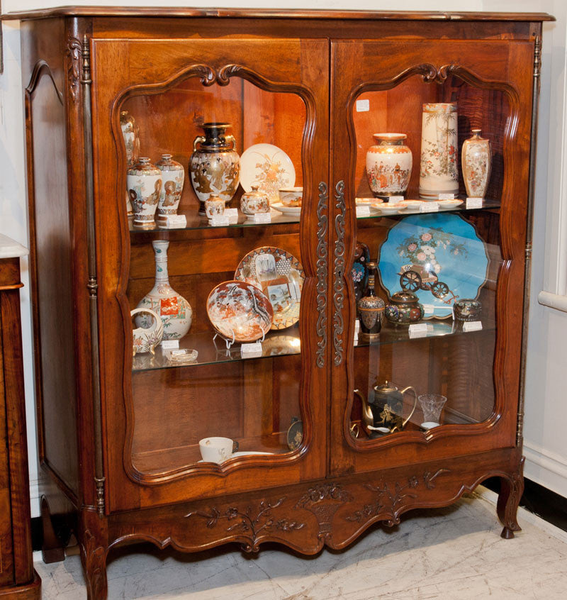 SOLD - French Walnut Vitrine