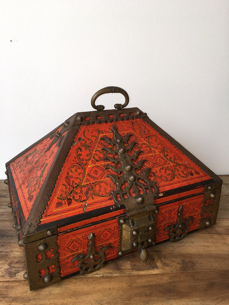 Indian Painted Wood Casket
