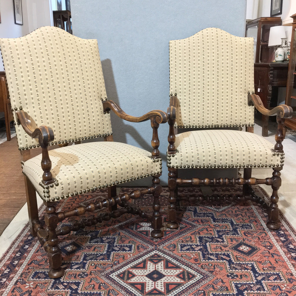 A Pair Of French Fruitwood Fauteuils