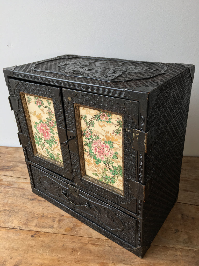 Carved Lacquered Table Cabinet