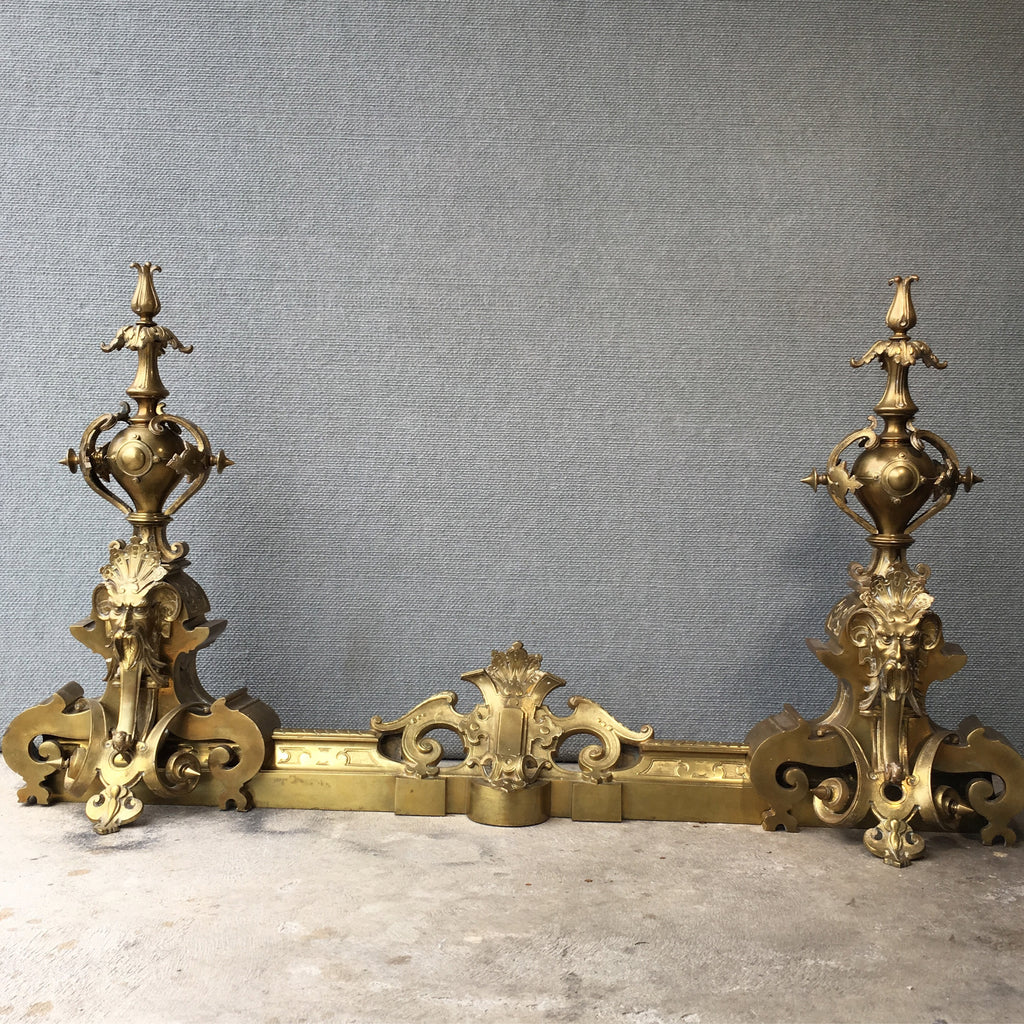 SOLD - French Ormolu Andiron Set