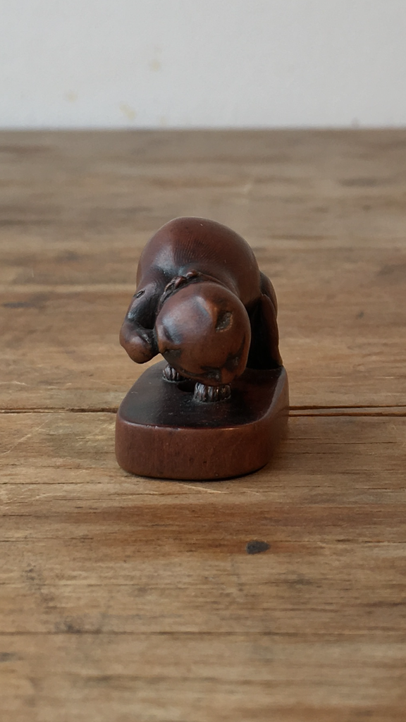 Boxwood Netsuke Of A Grooming Cat