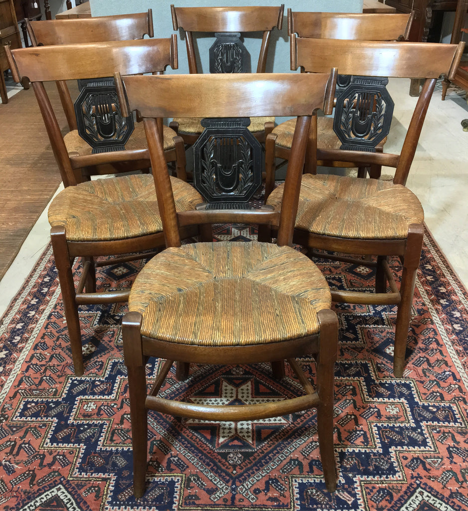 Set Of Six Austrian Walnut Chairs