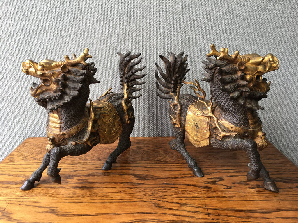 A Pair Of Chinese Bronze Kylin