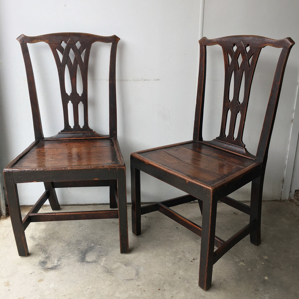 Pair Of Country Chippendale Chairs