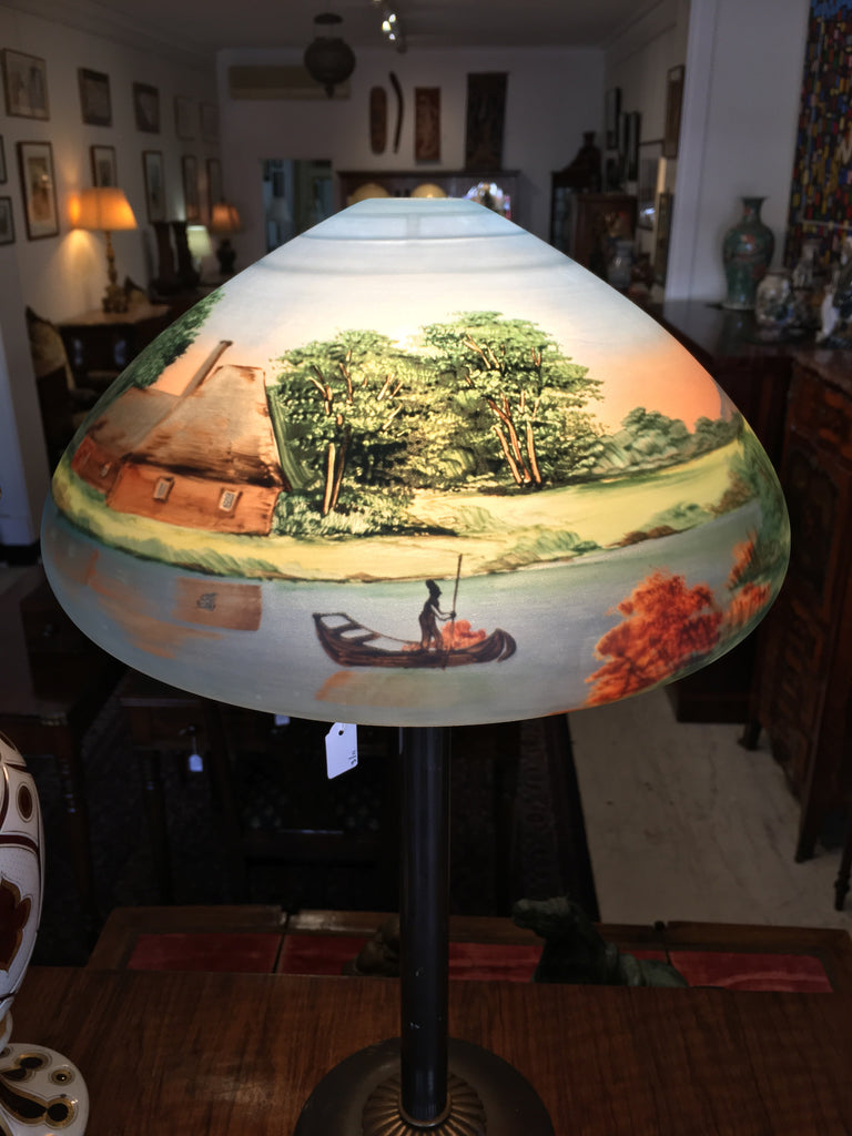 Art Nouveau Painted Glass Lamp Shade