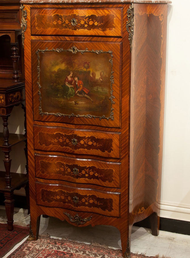 SOLD - French Vernis Martin Secretaire Cabinet
