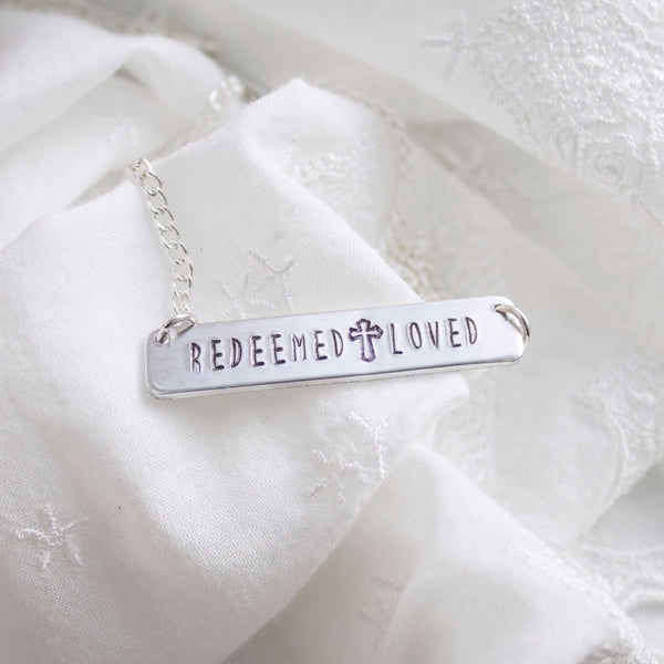 """Redeemed and Loved"" Bar Necklace"