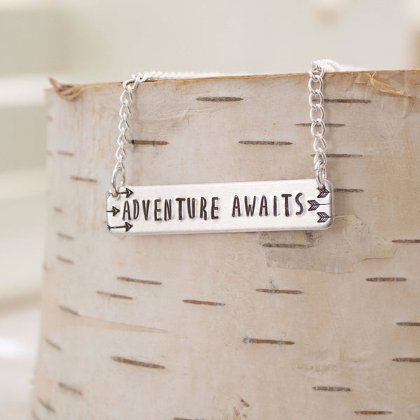 """Adventure Awaits"" Bar Necklace"