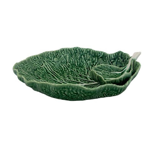 Bordallo Pinheiro - Green Cabbage Collection - Large leaf w/ Dip Bowl 13""