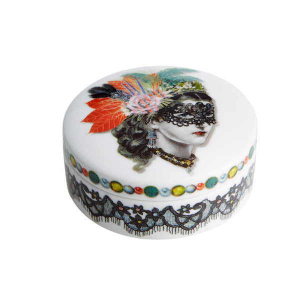 Vista Alegre - Christian Lacroix Small Round Box; Scarlet Woman