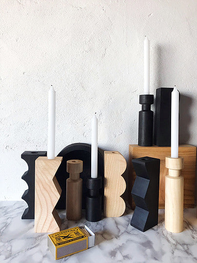 Casa Cubista - Natural Wood Candleholders - Various Patterns