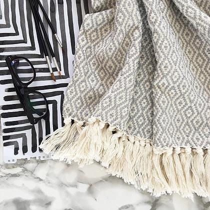 Cotton Fringed Blanket - 2 Colours