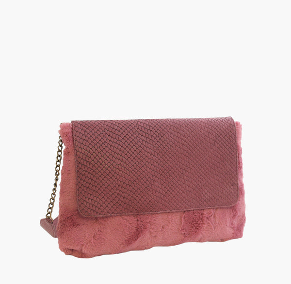 Bjoy - Matilde Shoulder Purse Fake Fur & Pink Leather