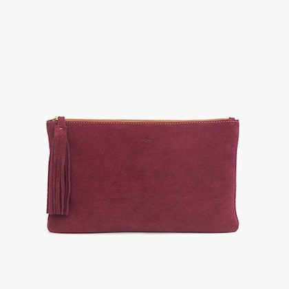 Bjoy - Isabel Suede Clutch with Tassel - Bordeaux